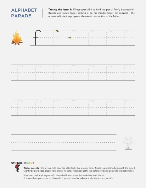 Alphabet Parade Tracing Lowercase F Worksheet for 1st