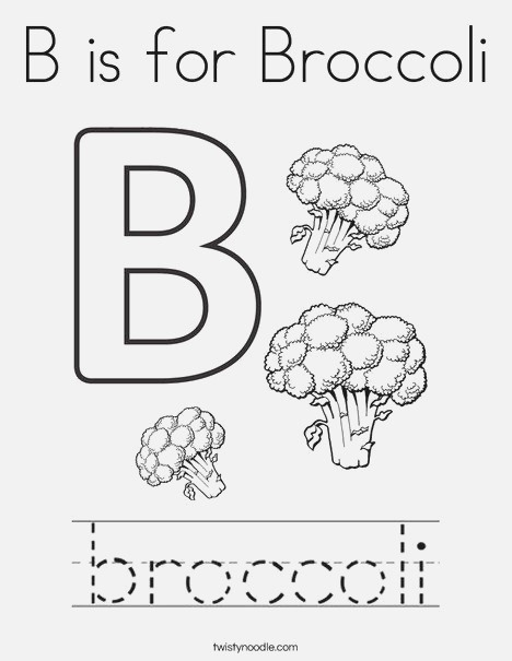 B is for Broccoli Coloring Page Twisty Noodle