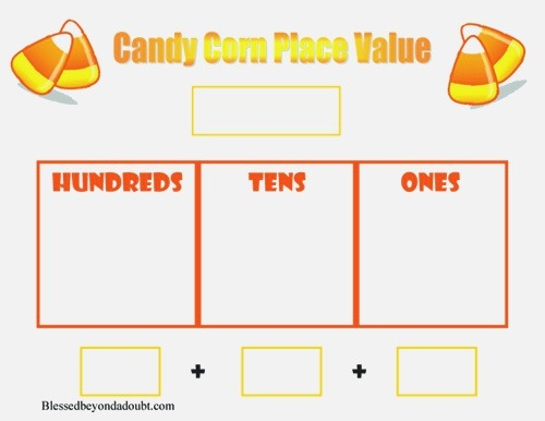 Candy Corn Place Value Worksheet and More Blessed