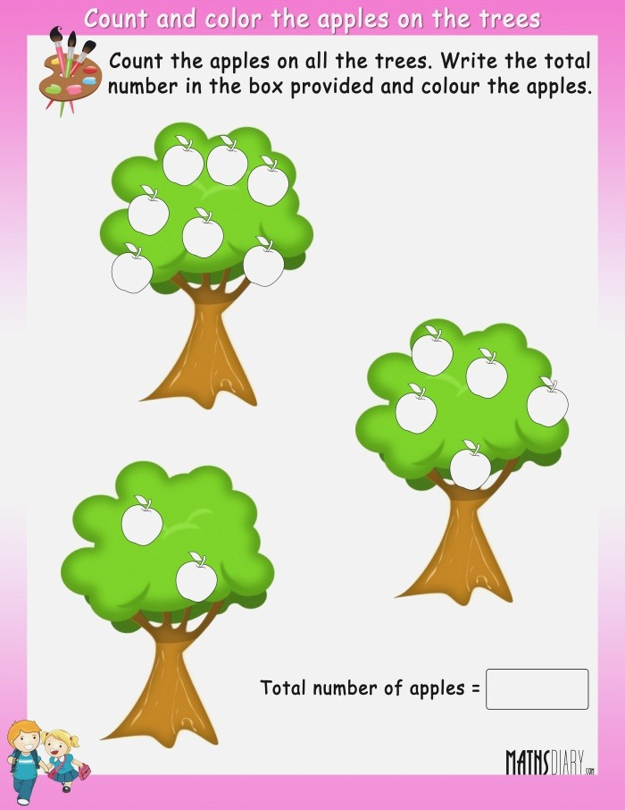 Count and Color the Fruits On Trees Math Worksheets