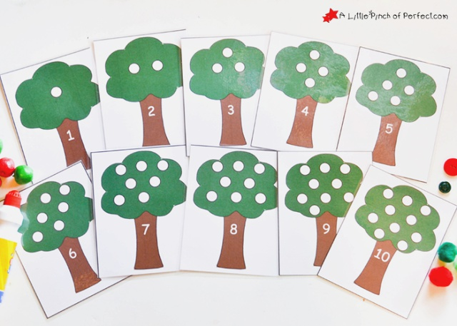 Counting and Addition Apple Tree Math Activity Printable