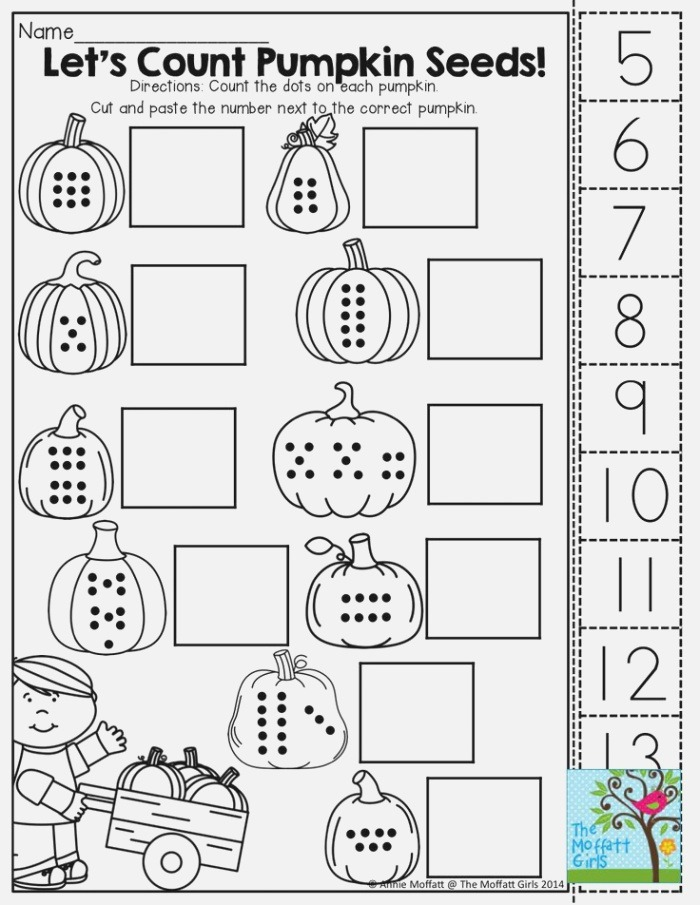 Counting Pumpkin Seeds Cut and Paste Math