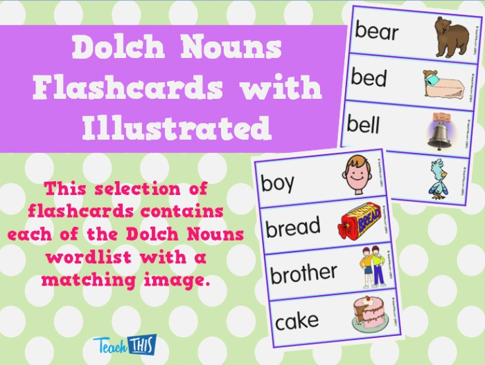 Dolch Nouns Flashcards with Illustrated Printable