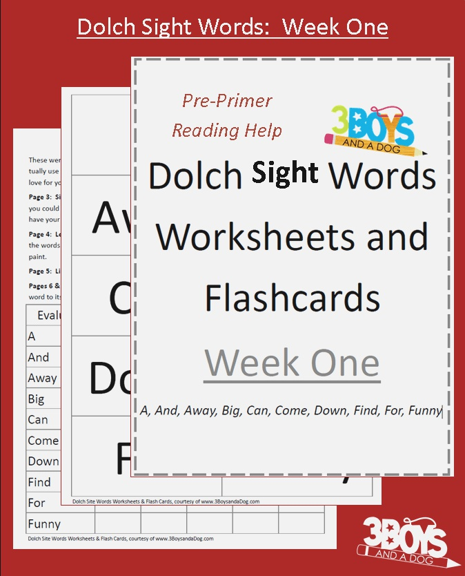 Dolch Sight Words Worksheets Week E – 3 Boys and A Dog
