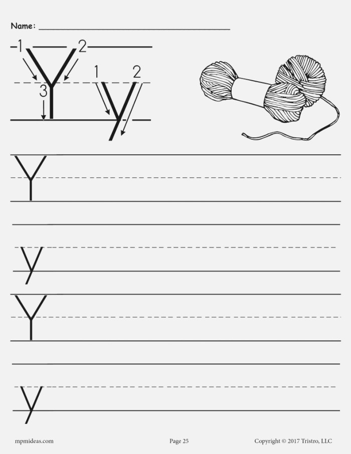 Draw A Lowercase Letter Y Free Printable for 1st Grade