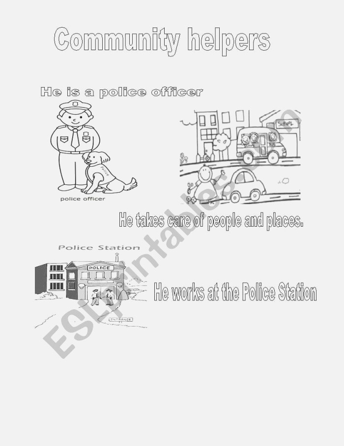 English Worksheets Munity Helpers the Police Ficer