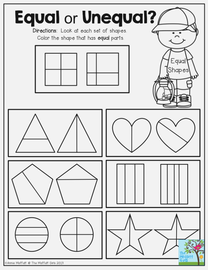 Equal or Unequal Fractions Look at Each Set Of Shapes and
