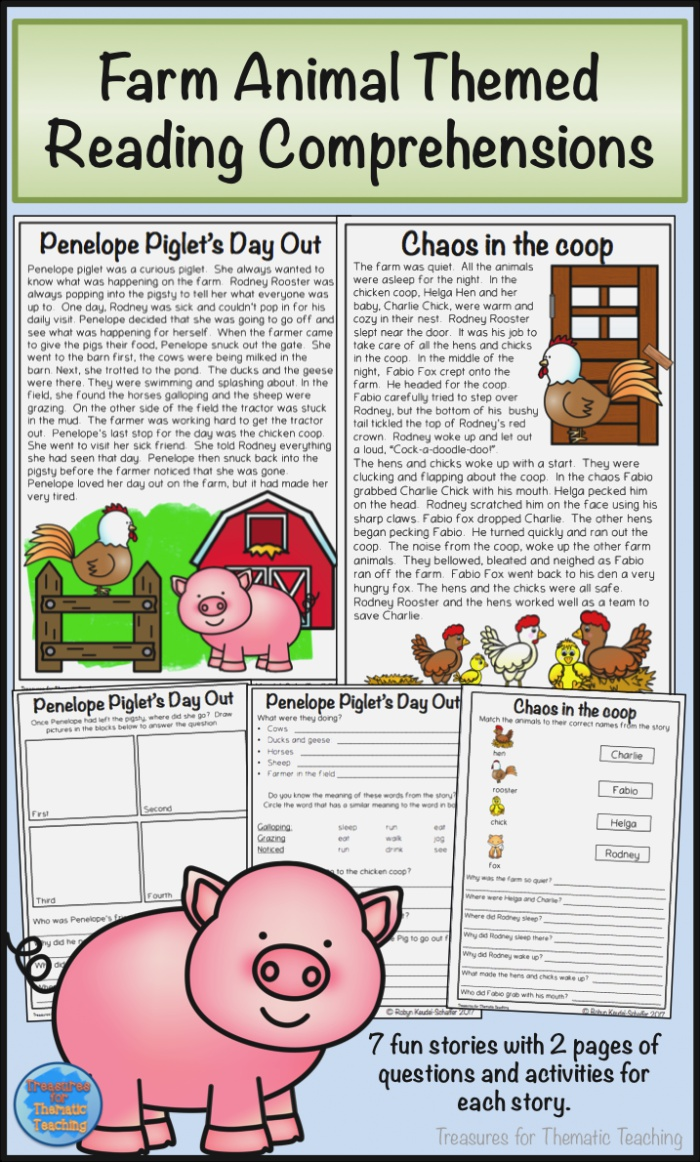 Farm Animals Reading Prehension Passages and Questions