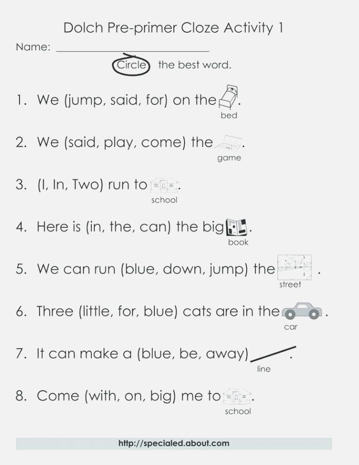 Fifth Grade Sight Words Free Worksheets for Grade Sight