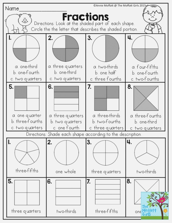 Fractions Look at the Shaded Part Of Each Shape and