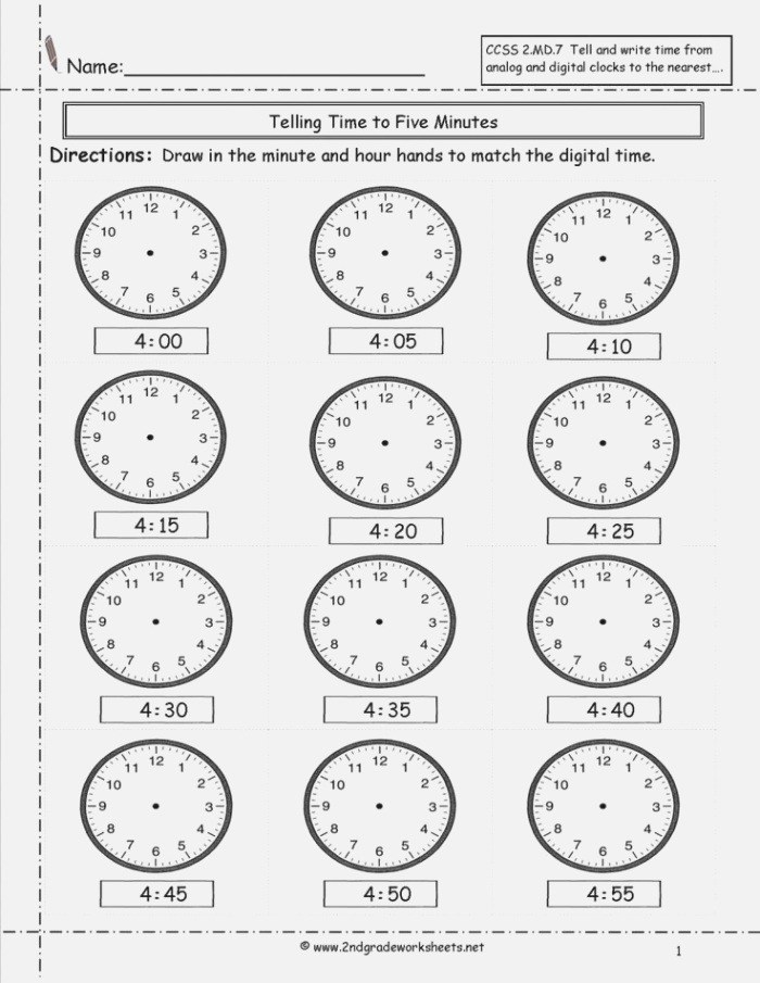 Free 1st Grade Time Worksheets 1st Grade In