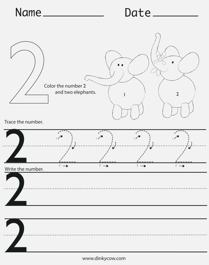 Free Number 2 Tracing Worksheets