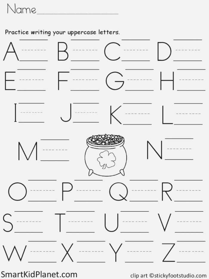 Free Print Practice Uppercase Letters St Patrick S Day