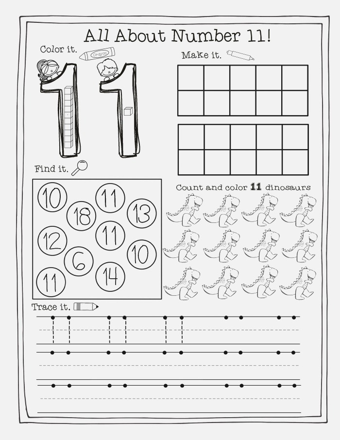 Free Printable Number 11 Worksheets Coloring Pages