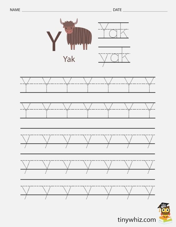 Free Printable Worksheet for Kids – Trace the Letter Y Yak