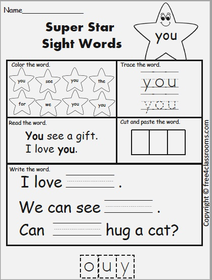 Free Sight Sight Word Practice You – Free4classrooms