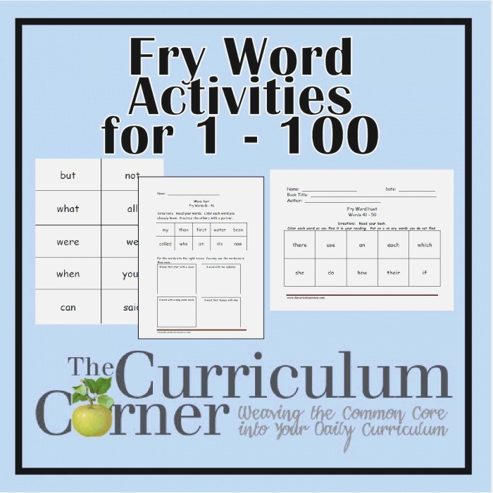 Fry First Hundred Printables 1 100 the Curriculum