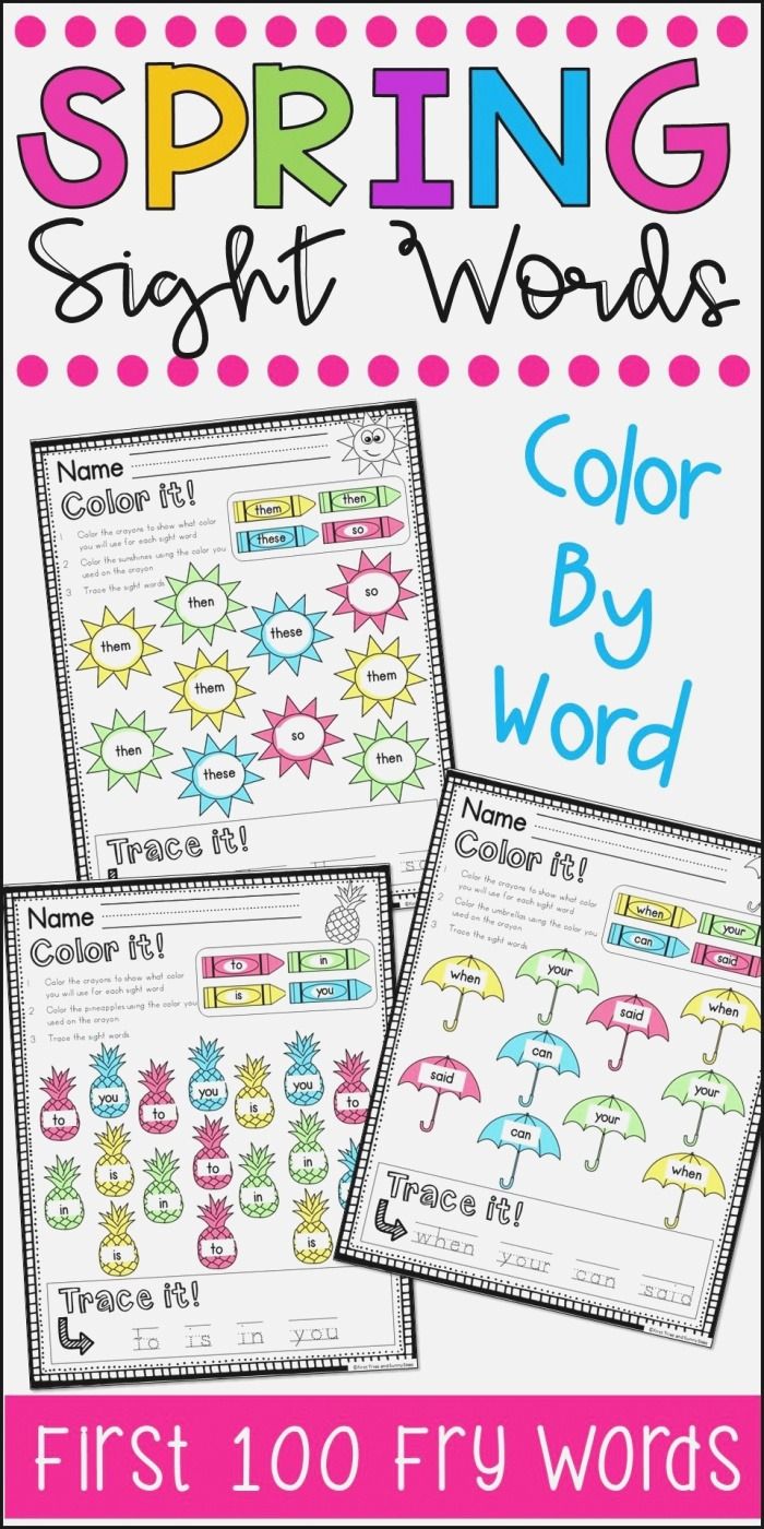 Fry S First 100 Sight Words Coloring Worksheets Spring