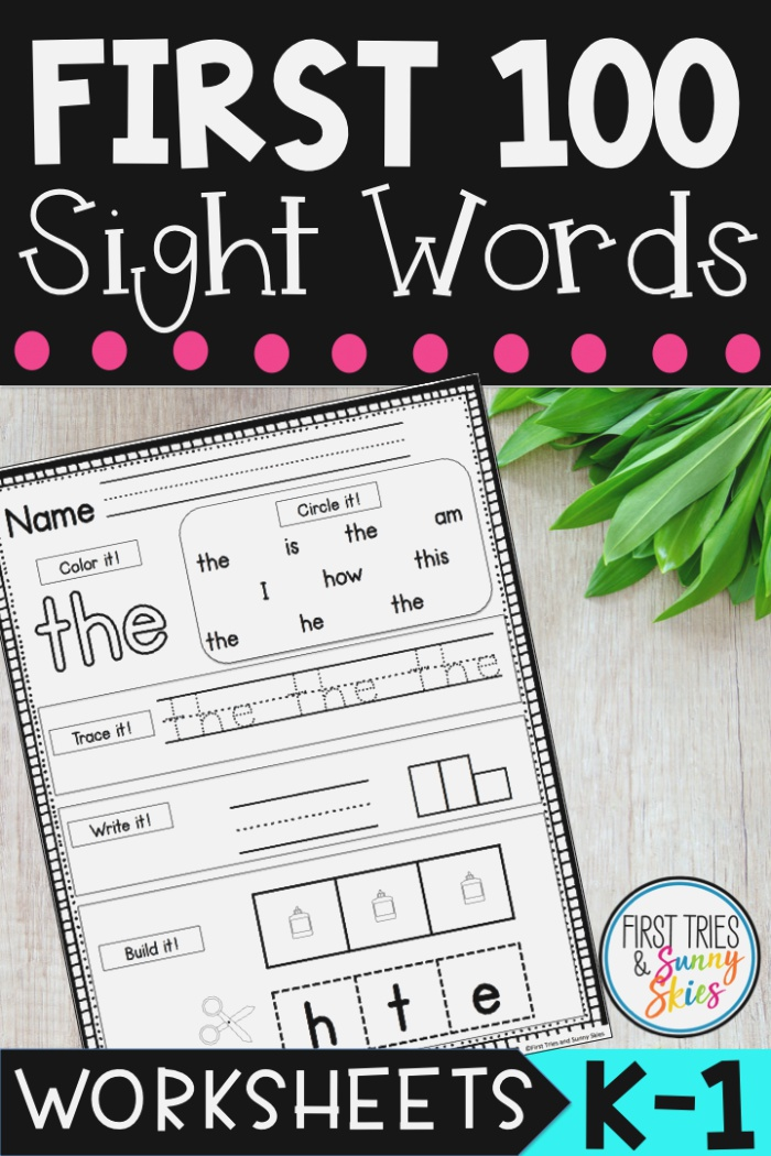 Fry Sight Words Worksheet Practice the First 100 Words