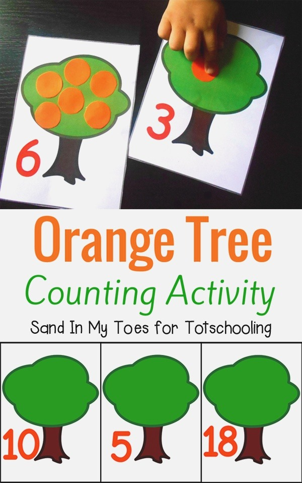 Fun Learning for Kids orange Tree Counting Activity with