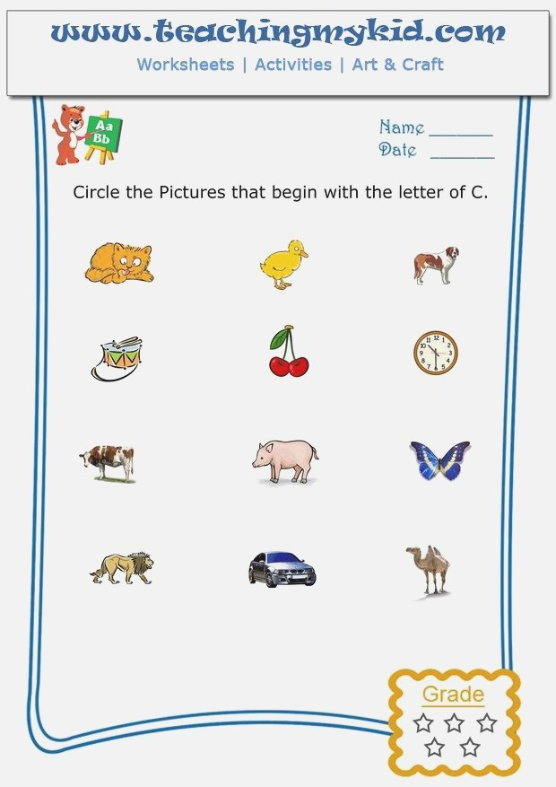 Fun Worksheets for Kids – Circle the Pictures that Begin