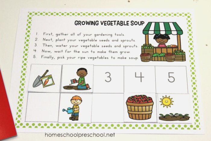 Growing Ve Able soup Story Sequence Cards