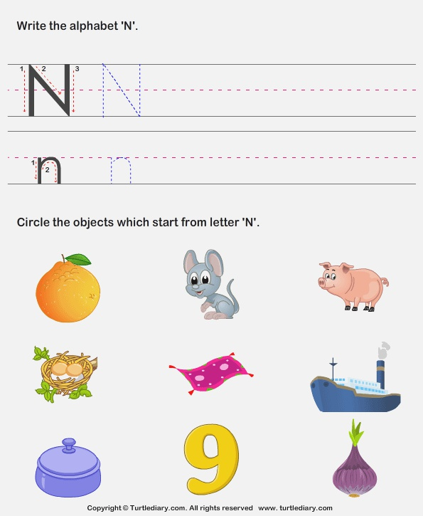 Identify Words that Start with N Worksheet Turtle Diary