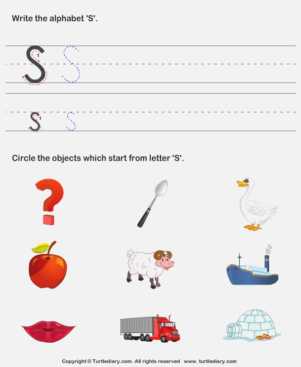 Identify Words that Start with S Worksheet Turtle Diary