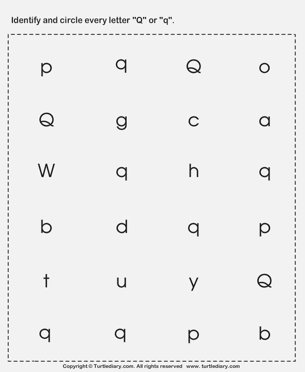 Identifying Lowercase and Uppercase Letter Q Worksheet