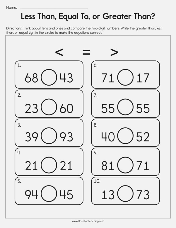 Less Than Equal to Greater Than Worksheet