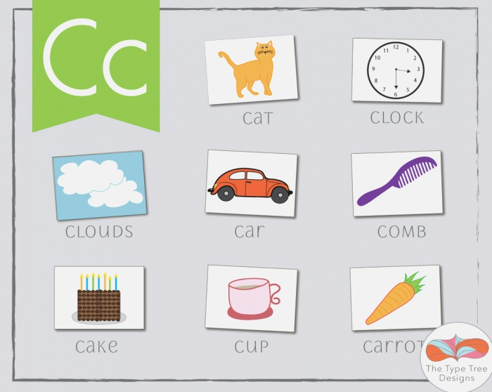 Letter C Flashcards with Images