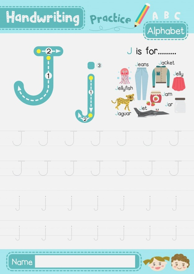 Letter J Uppercase and Lowercase Tracing Practice