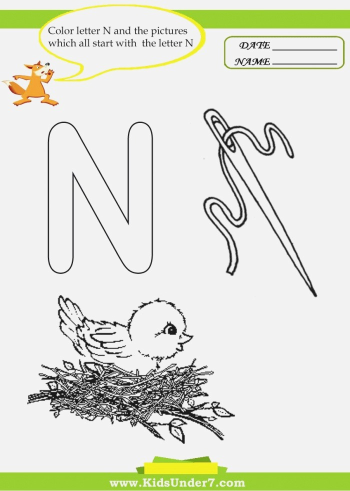 Letter N Worksheets and Coloring Pages for Preschoolers