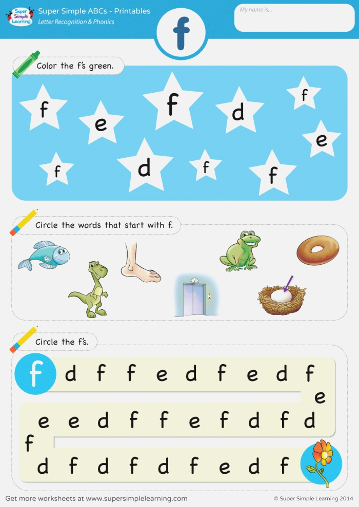 Letter Recognition & Phonics Worksheet F Lowercase