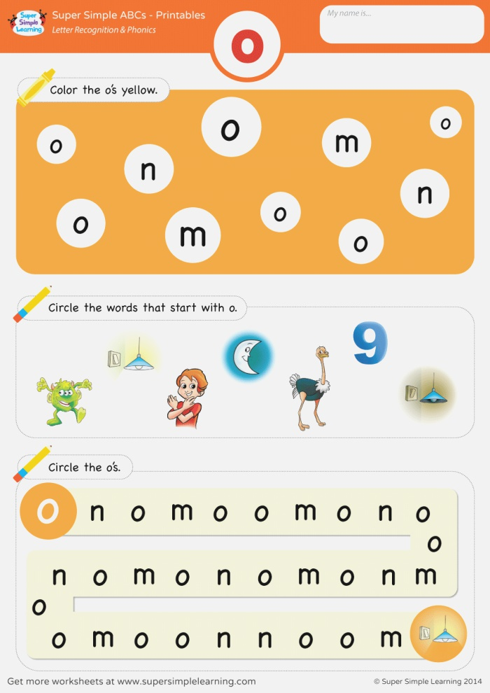 Letter Recognition & Phonics Worksheet O Lowercase