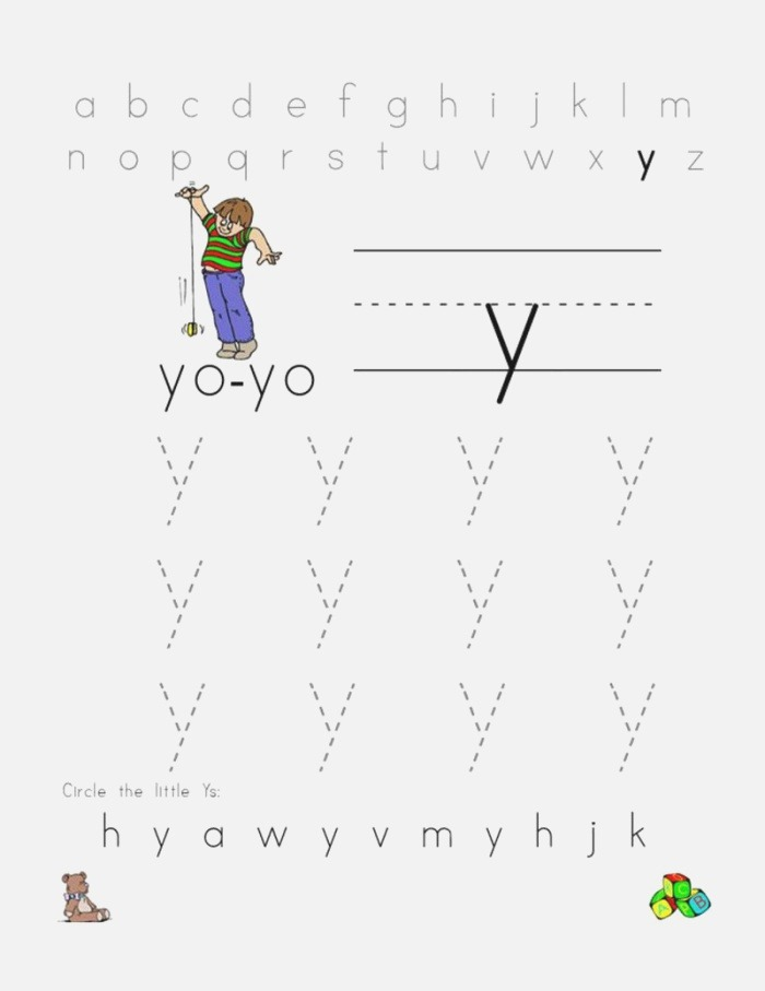 Letter Y Worksheet Lowercase Coloring Sheets