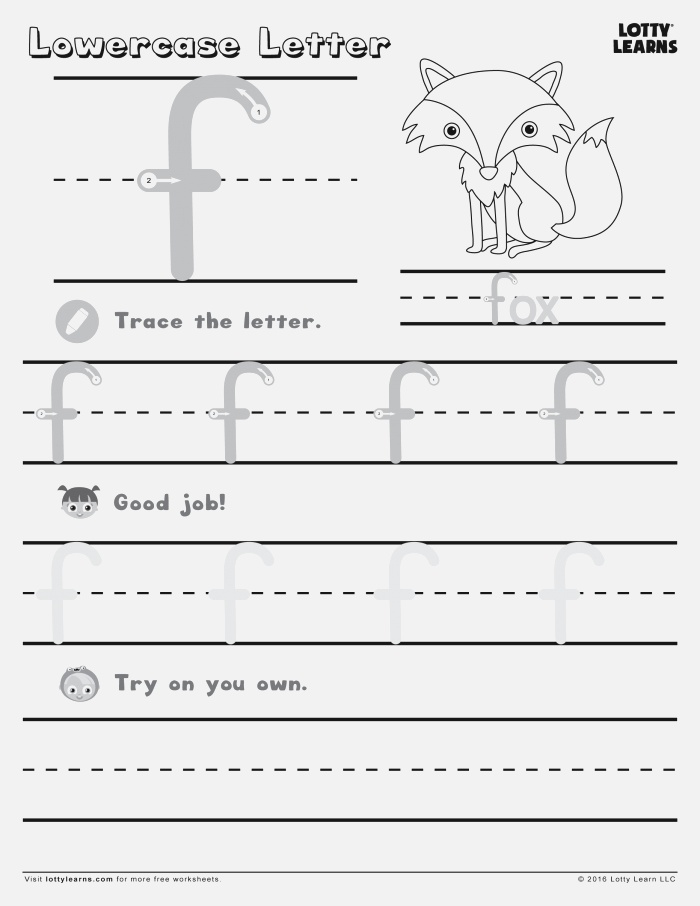 Lowercase F Tracing Worksheet