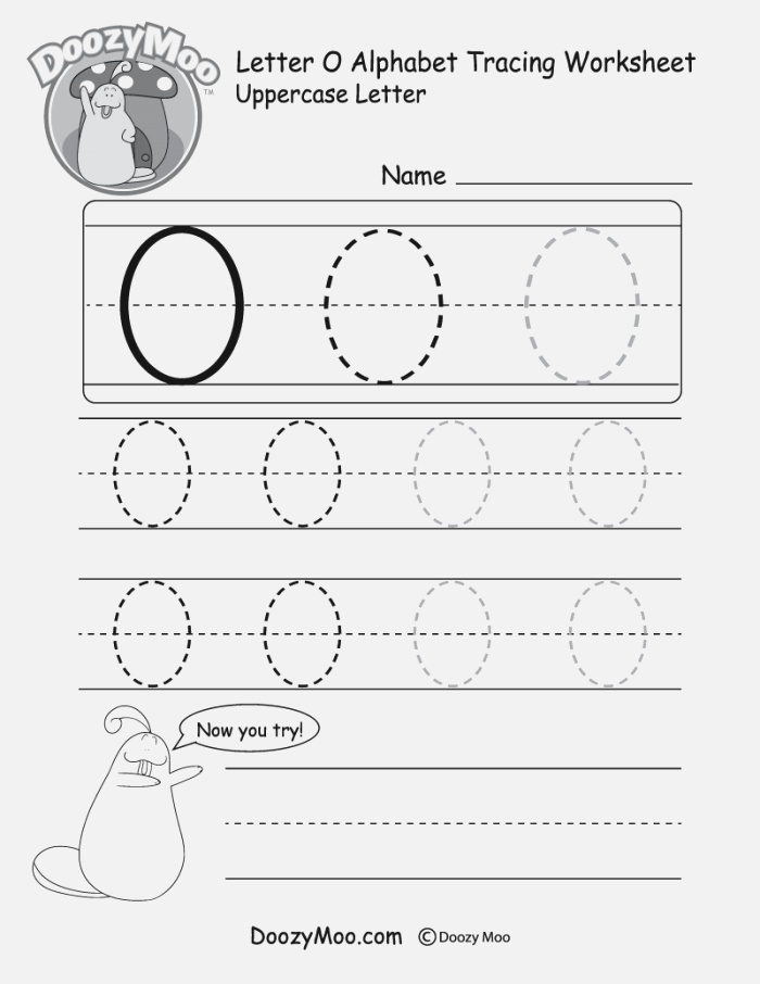 """Lowercase Letter """"o"""" Tracing Worksheet Doozy Moo"""