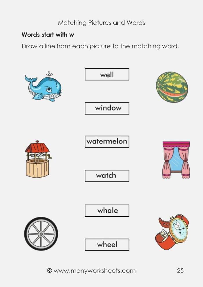 Matching Pictures and Names Start with Letter W