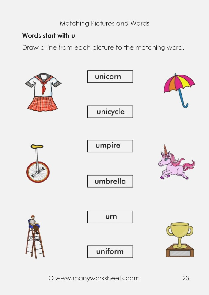 Matching Pictures and Words Starting with Letter U