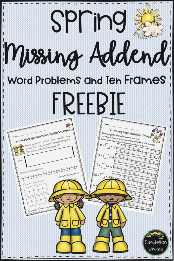 Missing Addend Word Problems and Ten Frames Spring