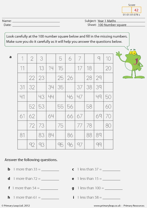 Missing Numbers 100 Number Square