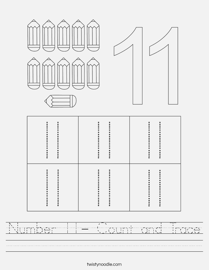 Number 11 Count and Trace Worksheet Twisty Noodle