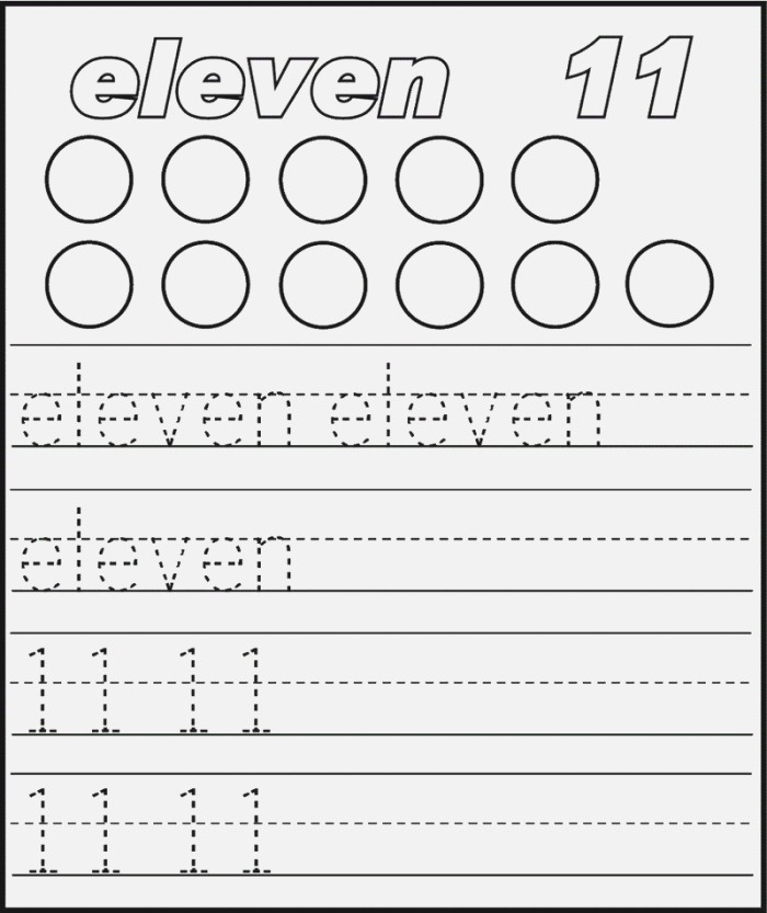 Number 11 Worksheet Trace Printable Coloring Pages