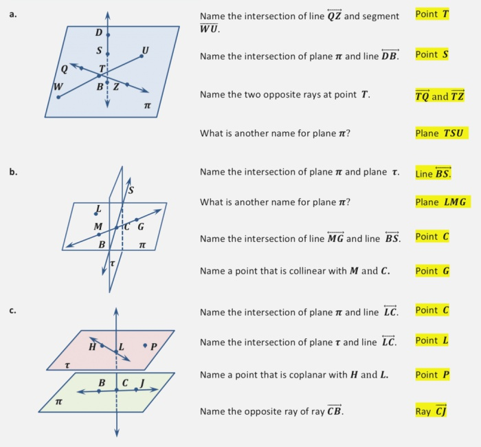 Points Lines and Planes Worksheets
