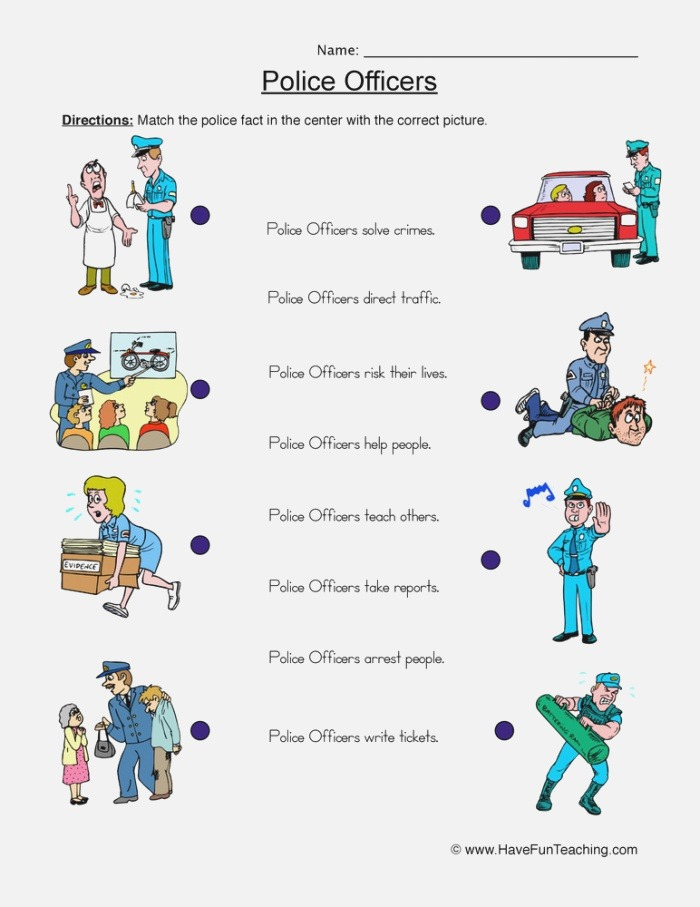 Police Ficers Worksheet Matching