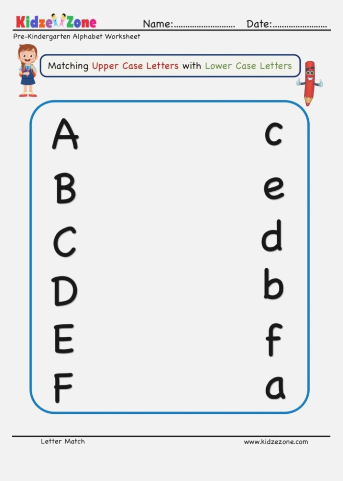 Preschool Letter Matching Upper Case to Lower Case A to F