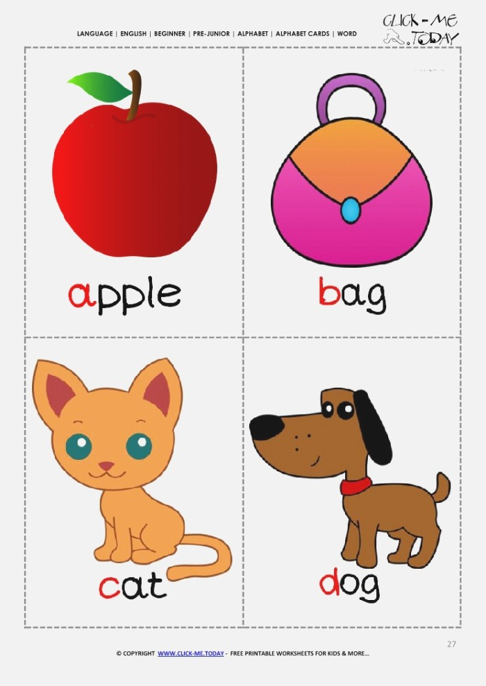 Printable Alphabet Flashcards Picture & Word Abcd