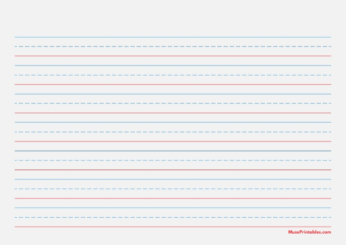 Printable Blue and Red Handwriting Paper 5 8 Inch