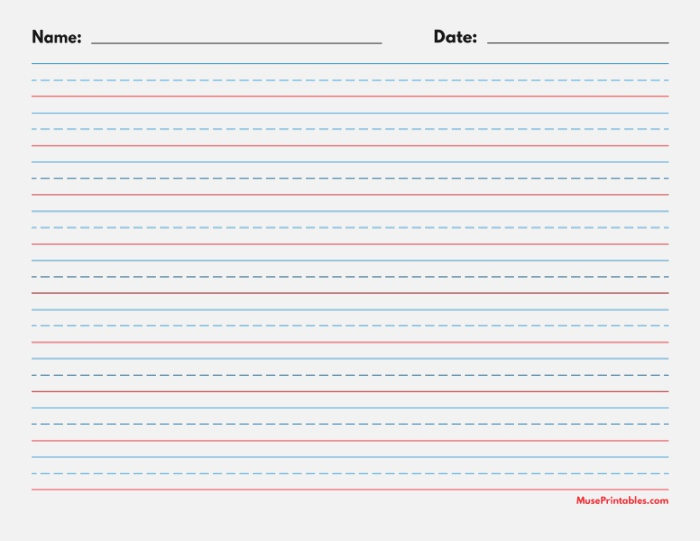 Printable Blue and Red Name and Date Handwriting Paper 1